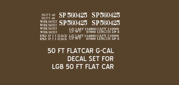 SOUTHERN PACIFIC 50 FT FLATCAR G-CAL DECAL SET FOR THE LGB 50 FT FLATCAR.