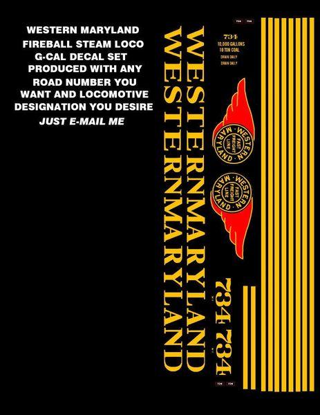 WESTERN MARYLAND FIREBALL STEAM LOCO G-CAL DECAL SET