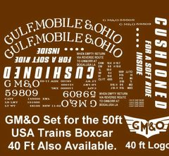 GULF, MOBILE AND OHIO RR G-CAL DECAL SET FOR USA TRAINS 40 FT STEEL BOXCAR.