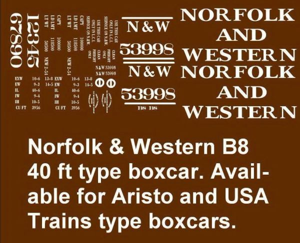 NORFOLK AND WESTERN RR 40 FT BOXCAR G-CAL DECAL SET
