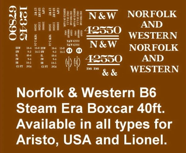 NORFOLK AND WESTERN RR 40 FT BOXCAR G-CAL DECAL SET B-6