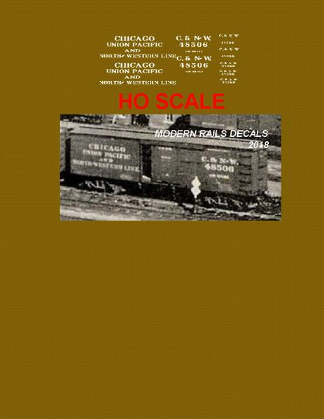 C&NW- CHICAGO, UNION PACIFIC AND NORTH WESTERN 36 WOOD BOXCAR HO SCALE DECAL SET