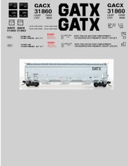 GATX GENERAL AMERICAN TANK CAR CO. CYLINDER HOPPER G-CAL DECAL SET