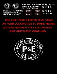 PEORIA AND EASTERN RR DIESEL LOCOMOTIVE G-CAL DECAL SET