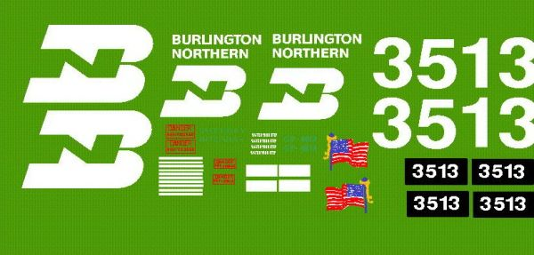 BURLINGTON NORTHERN G-CAL DECAL SET FOR THE ARISTO CRAFT SD45 DIESEL LOCOMOTIVE.