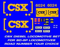 "CSX ""HOW TOMORROW MOVES"" DIESEL LOCOMOTIVE G-CAL DECAL SET."