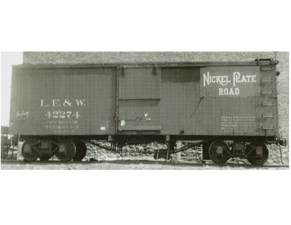 LAKE ERIE & WESTERN/ NICKEL PLATE ROAD MERGER 36 FT WOOD BOXCAR HO SCALE DECAL SET.