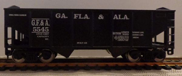 GEORGIA FLORIDA & ALABAMA R.R. 2 BAY OPEN HOPPER CAR