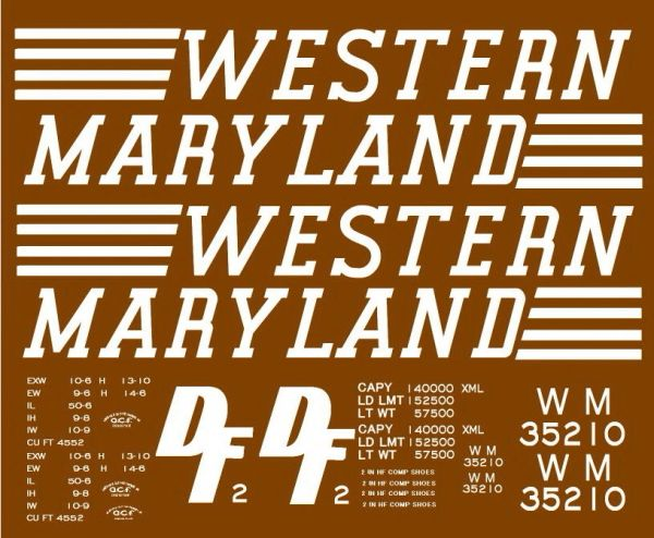 WESTERN MARYLAND 50 FT SD STEEL BOXCAR G-CAL DECAL SET. WHITE INK.