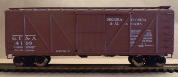 GEORGIA, FLORIDA & ALABAMA 40 FT. OUT SIDE BRACED BOXCAR HO DECAL SET