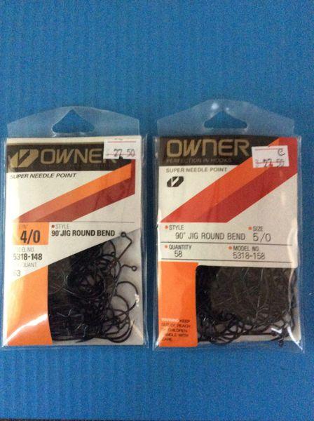Owner 5318 90* Jig Hooks Round Bend Bulk Packs 4/0 & 5/0