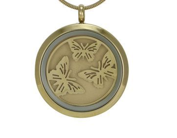 Round Pendant Butterfly Bronze