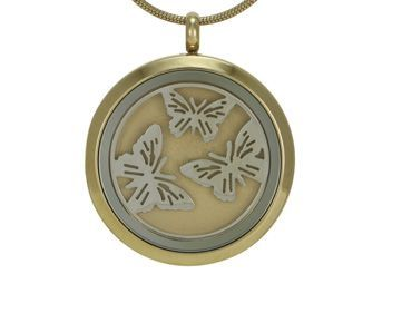 Round Pendant Butterfly Bronze / Pewter