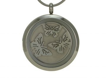 Round Pendant Butterfly Pewter