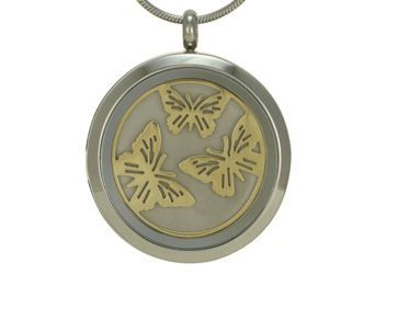 Round Pendant Butterfly Pewter / Bronze