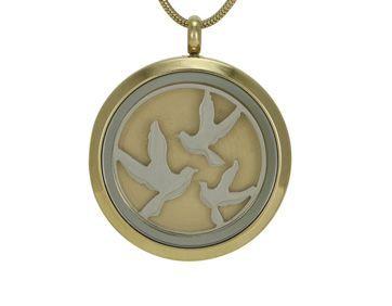 Round Pendant Birds Bronze / Pewter