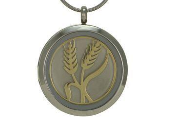 Round Pendant Wheat Pewter / Bronze
