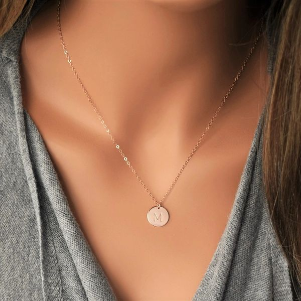 Rose Gold Filled Stamped Initial Disc Monogrammed Necklace  Gift for Her