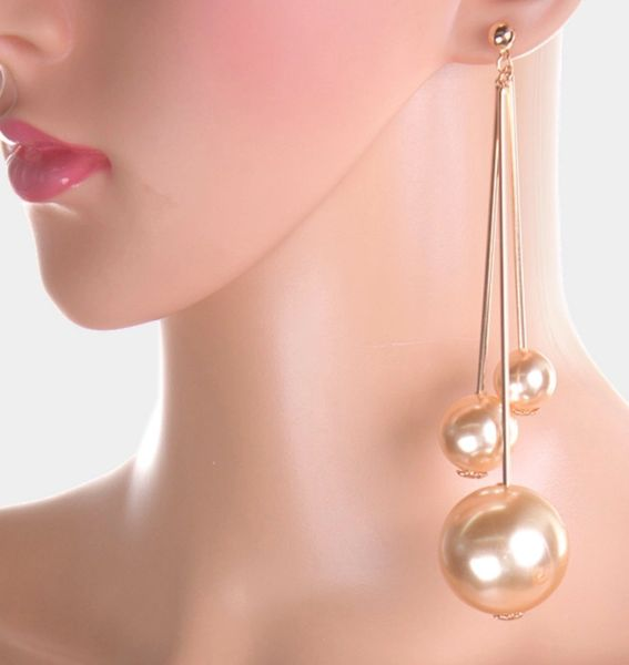 the latest united kingdom latest Oversized Long Drop Triple Chunky Pearl Dangle Earrings | She Is ...