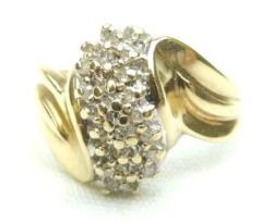 BEAUTIFUL LADIES STUNNING 10K GOLD .70 CARAT BRILLIANT CUT GEMS DIAMOND RING ROLLING SWIRL