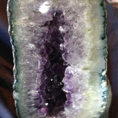 "Natural Precious Gem Rock 11"" High 7"" Wide Large / Medium Natural Amethyst Crystal Rock Geode"