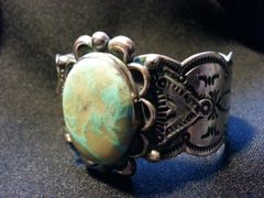 SOLD - Vintage Large Heavy - .925 Silver - Tribal Made - Indian Mountain Turquoise - Bracelet / Cuff