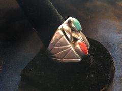 Size 10 Turquoise and Red Coral .925 Silver Tribal Vintage Ring