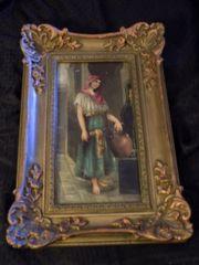 "Vintage Fine Original Painting by Edmund Blair Leighton ""Peasant Woman"" 1875"
