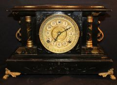 "Early Victorian Period Vintage Mantle Clock w/ Gold Gilded Face 10.5"" X 16"" Large Clock & Heavy!"