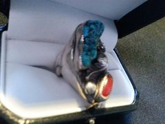 Silver Sz10.5 Kingsman Turquoise & Red Coral Men's Ring