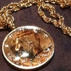 14K 1967 Gold (GP) JFK 50 Cent Half US Dollar Cent Piece with Matching Chain