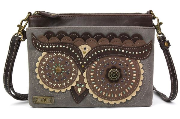 Chala Handbags -Mini Crossbody Purse, Dazzled Owl