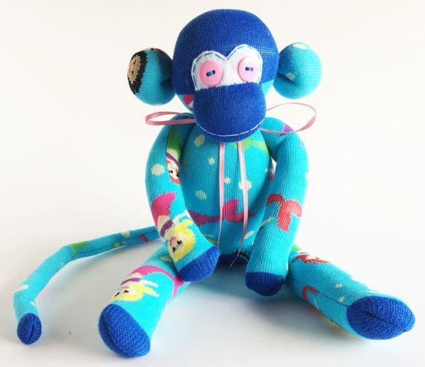 Teal Sock Monkey Mermaid Monkey Sock Monkey Blue Sock Monkey Mermaids Mermaids Sock Monkey Mermaid Sock Monkey Nautical Gift