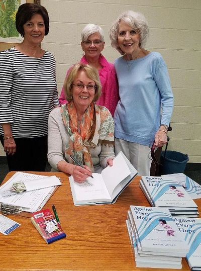 Author Bonnie Tinsley reads and signs Against Every Hope at First Baptist Church, Murfreesboro, TN.