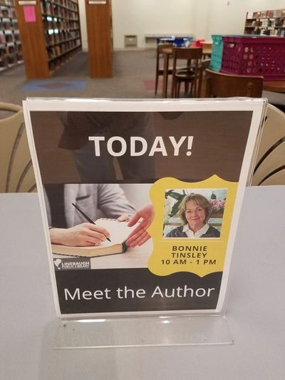 "Bonnie Tinsley 'Meet the Author"" event at Linebaugh Public Library in Murfreesboro, TN."