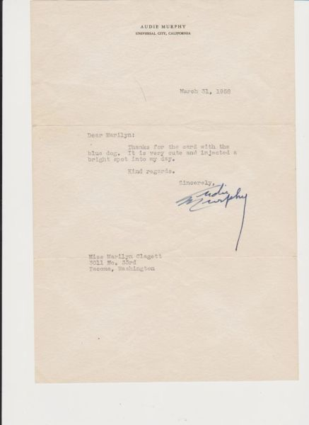 Audie Murphy signed letter with photos