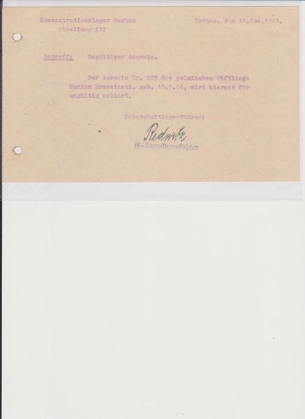 Michael Redwitz Dachau signed note