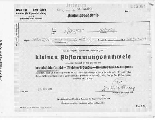 Nazi document proving no Jewish blood, Aryan purity