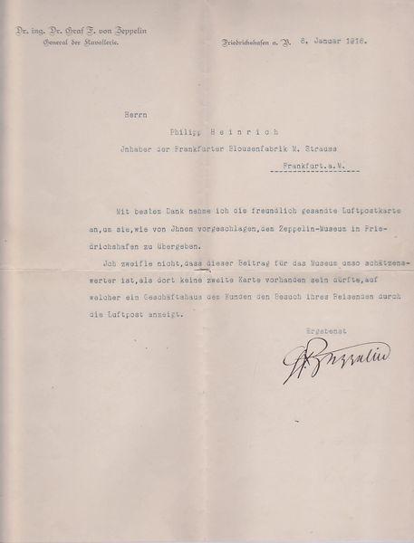 Letter signed by Graf von Zeppelin