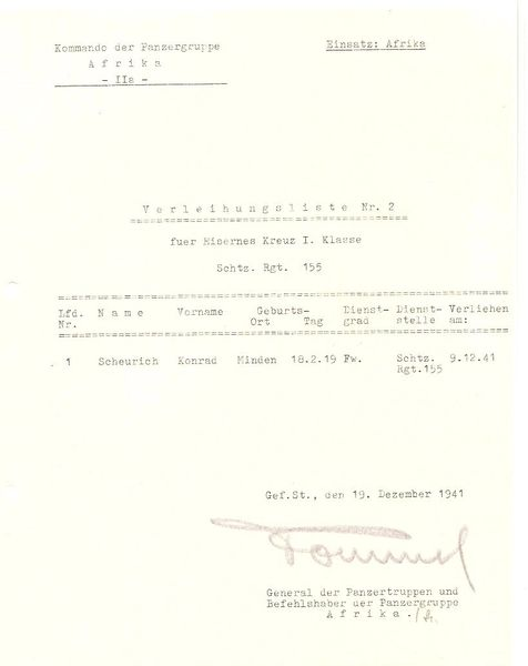 Rommel signed document north afrika