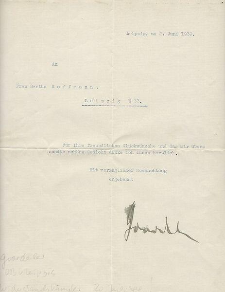 Carl Goerdeler signed letter