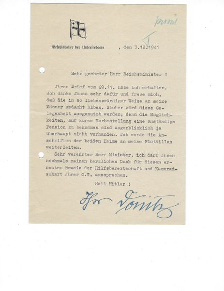 Grand Admiral Karl Donitz signed letter 1941