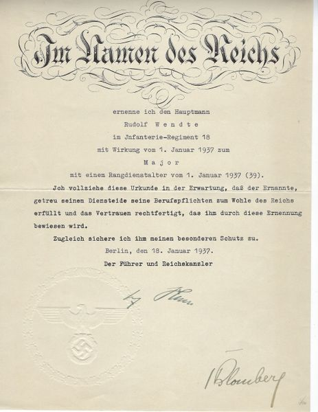 Adolf Hitler signed document
