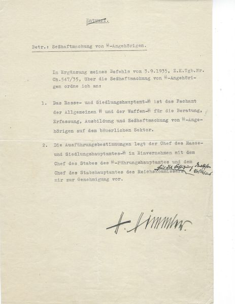 Heinrich Himmler signed document