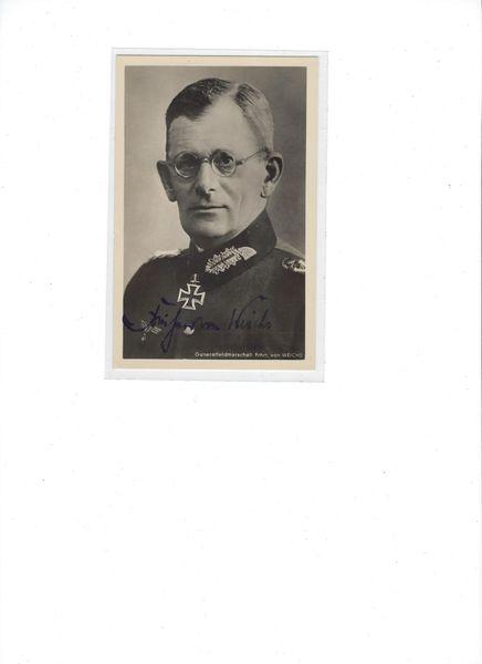 GFM Freiherr von Weichs signed photo