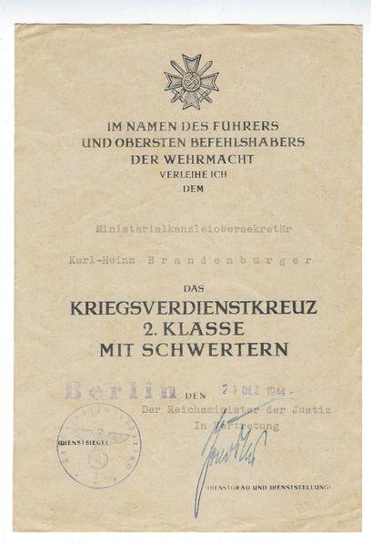 Roland Freisler signed award document