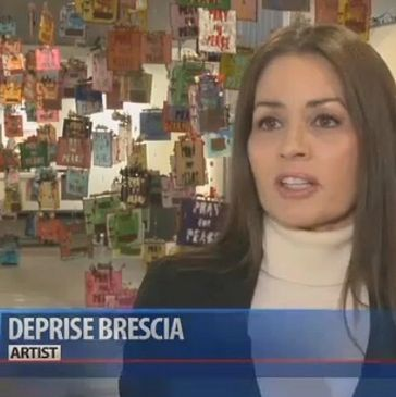"The actress, artist, activist Deprise Brescia interviewed by KSBY for the news about her art installation, ""Pray for Peace"" about the dramatic rise in school shootings for the  16 years of the 21st century."