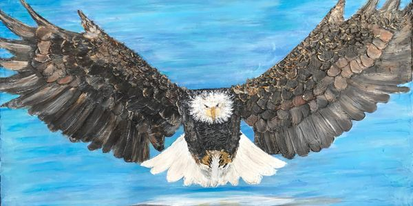 Eagle Soaring an original acrylic palette knife painting by the contemporary artist Deprise Brescia.
