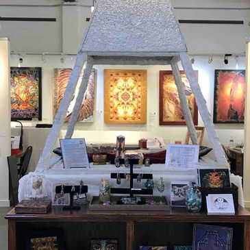 The quartz crystal pyramid inside the Deprise Brescia Art Gallery at Studios on the Park in Paso Robles, California.