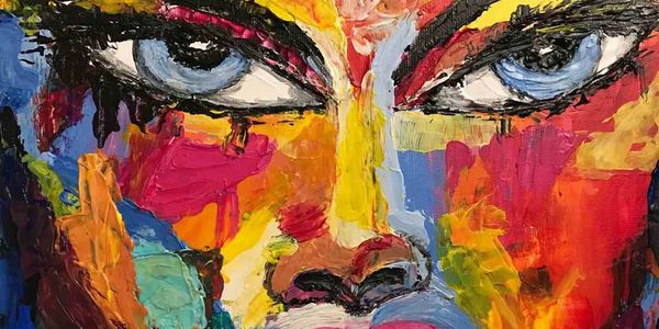 Palette knife painting of SHE the female face by contemporary energy artist Deprise Brescia.